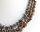 Keishi Pearl Bib Necklace on a Silk Ribbon, Brown Bronze Pearls, Adjustable Length, Summer Fashion, OOAK