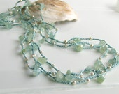 Handmade Silk and Stone Jewelry, Aquamarine Crocheted Silk Wrap Cuff or Necklace, Pastel Aqua, Gemstones and Pearls, Last One in Edition