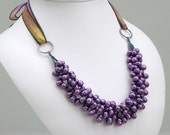Purple Pearl Bib Cluster on Silk Ribbon, Statement Purple Necklace, Gift for Her, Deluxe Pearls