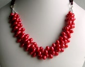 Strawberry Red Pearl Statement Necklace Bib Cluster on Silk Ribbon, Brilliant Colored Pearls