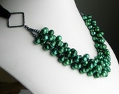 Emerald Green Pearl Bib Cluster on Silk Ribbon, Statement Green Necklace, Last One, Gift for Her, Deluxe Pearls