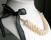 White Freshwater Pearl Necklace, Multistrand Bib on Silk Ribbon, Statement Pearls, Wedding Fashion, Deluxe Pearls, Bridal Accessory