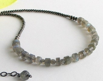 Labradorite and Sterling Silver Necklace, Gemstone Choker with a Silver Beaded Chain, Gray Gems, Special Gift, Artisan Designed and Made