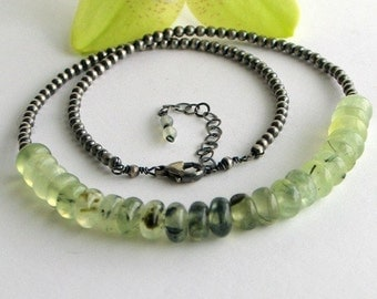 Prehnite Gemstone Necklace on a Sterling Silver Chain, Light Green Roundels and Sterling Silver Necklace, Green Jewelry, Wearable Art