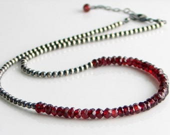 Red Garnet Necklace on Sterling Silver Beaded Chain, January Birthstone Necklace, Red Stone Choker, Elegant Gift for Her