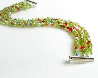 Peridot Multi Strand Cuff Bracelet, Semi-precious Stones Mixed with Swarovski Crystals and Crystal Pearls, Nature Inspired Original Gift