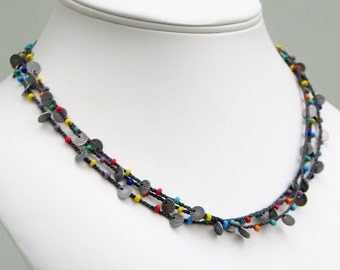 Rainbow Beaded Crochet Necklace or Wrap Cuff, Multi-strand Silk with Antiqued Silver Disks and Multicolored Glass, Hand Crocheted Silk Chain