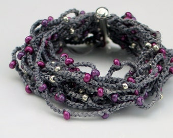 Gray Silk Crocheted Cuff Bracelet with Ruby Red and Amethyst Pearlized Vintage Glass Beads