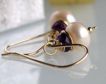 Pearl Amethyst Gold Earrings, Handmade Freshwater Pearl Earrings in Gold Filled, Fashion Pearls, February Birthstone