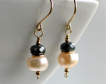 Baroque White Pearls & Gray Hematite Earrings, Handmade Pearl Dangles in Gold, Classic Freshwater Pearls in Black White, Gift Ready to Mail