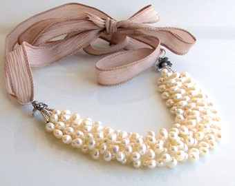 Ivory White Pearl Bib Thick Cluster on Artisan Silk Ribbon, White Pearl Necklace, Pearls and Silk, Deluxe Gift For Her