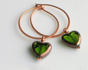 Green Valentine Heart Hoops, Czech Glass Dangle Heart on Handmade Copper Hoop Earrings, Transparent Peridot Green Glass Heart Earrings