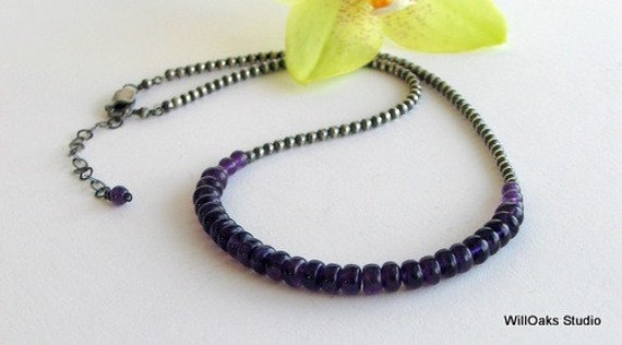 On sale Save 20% Amethyst Cluster Necklace on Sterling Silver Chain, Purple Choker, Gemstone Necklace, February Birthstone, Deluxe Gift