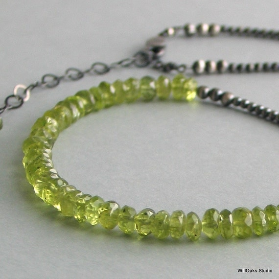 Peridot Necklace on a Special Silver Chain, August Birth Stone, Gemstone Choker on a Sterling Beaded Chain, Green Stone Necklace, Luxe Gift