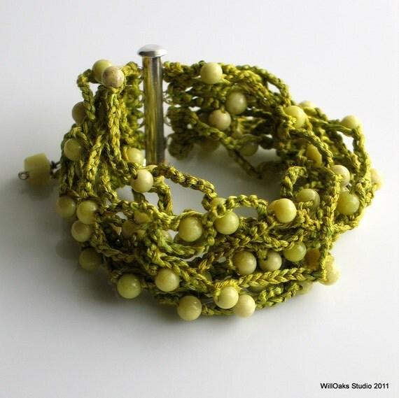 Beaded Silk Cuff, Chartreuse Peridot Jasper Stones, Bright Beaded Bracelet, Soft Crocheted Beaded Silk Cuff, Original Artisan Design