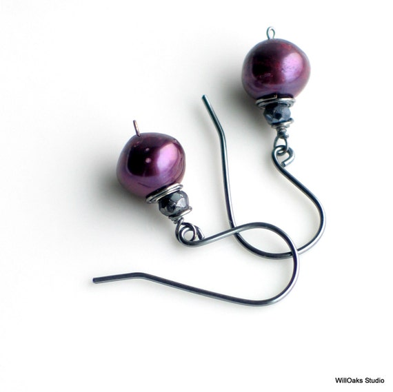 Eggplant Purple Pearls and Mystic Black Spinel Earrings, Purple Freshwater Pearl Earrings on Oxidized Sterling Ear wires, Gift Set