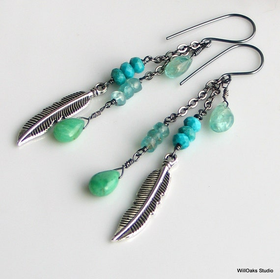 Teal Turquoise Feather Dangle Earrings, Sterling Silver Long Dangles with Mixed Stones, Bohemian Long, Gift for Her under 50, Ready to Ship