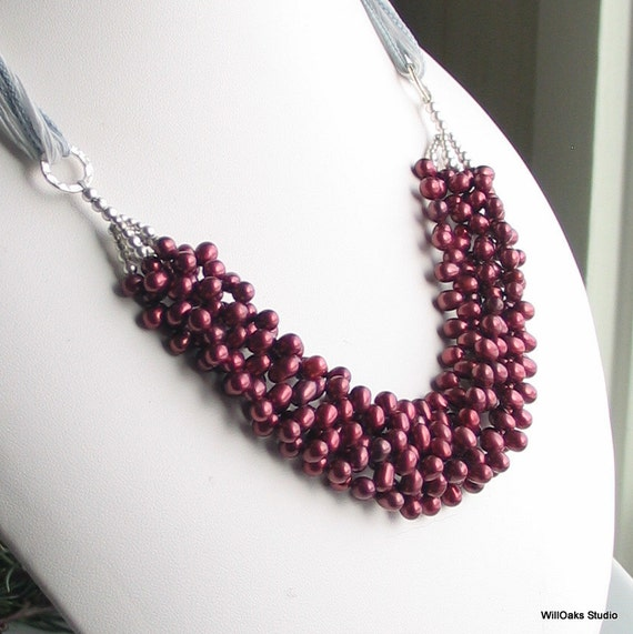 Pomegranate Red Pearl Bib Statement Necklace, Multistrand Pearl Cluster Bib Necklace, Pearls and Sterling on Silk Ribbon