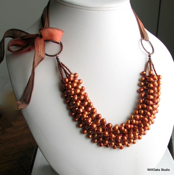 Coppery Pearl Bib Necklace and Silk Ribbon, Multistrand Orange Russet Freshwater Pearls Cluster Necklace, Auburn Pearls on Silk