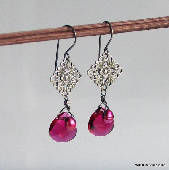 Ruby Pink Crystal Drops, Fuchsia Pearl Antique Silver Medallion Earrings, Ruby Red July Birthday, Fun Fashion Dangle Earrings