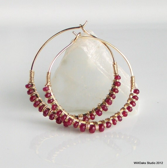 Ruby Jewelry, July Rubies on Gold Hoop Earrings, Wire wrapped Hand Forged GF Hoops, Deluxe Gift for Her, July Birthstone