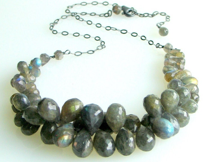 Featured listing image: Labradorite Bib Necklace, Graduated Stones Cluster with Sterling Silver Chain, Length Adjusts Choker to Longer, Deluxe Gift Ready to Ship