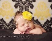 Mia Yellow Rosette Flower with Multi Pearl Center on Ivory Skinny Elastic Headband