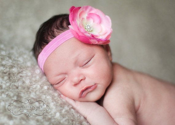 Ready to Ship...Cream and Pink Flower Headband with Fashion Rhinestone Center on Dark Pink Elastic Headband (fits 6 months and up)