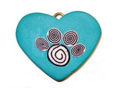 Heart Spiral Paw Pet ID Tag