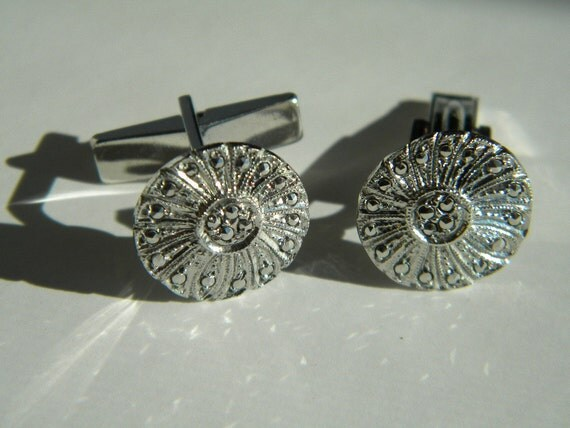 Vintage Sterling Silver and Marcasite Cuff Links