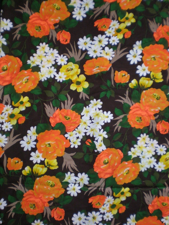 RESERVED for KATIE..Vintage 1960s, 70s Forest Flower Print fabric, 1/2 yard