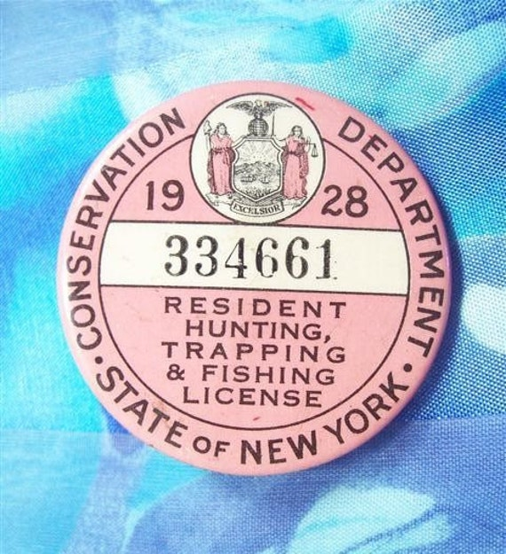 1928 new york resident hunting fishing trapping license for Fishing license il
