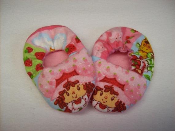 Newborn Baby  Booties Slippers Girl Pink Strawberry Shortcake