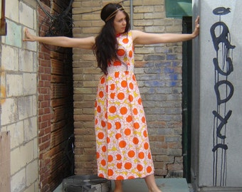 Vintage 1960s Citrus Floral Dress Size 6