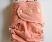 Creamsicle Fitted Cloth Diaper, 100% organic, hand dyed, one size, lemon snaps