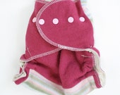 wool wrap diaper cover - one size - thick - two layers of wool- pink and pastel stripes
