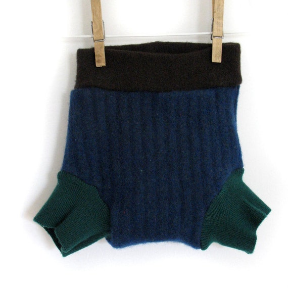 Wool Cloth Diaper Cover in Navy Blue and Emerald Green, medium