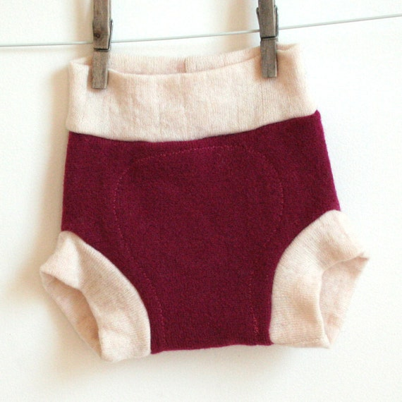 Plum Wool Shorties, Wool Cloth Diaper Cover, small, upcycled wool, 0-6 months