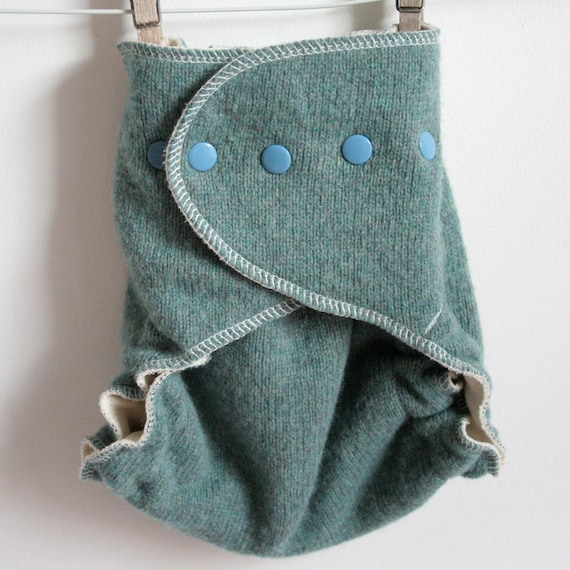 Beautiful sea green with dull blue snaps, wool wrap, wool cloth diaper cover, nappy cover, natural, eco friendly, one size 7-35 pounds
