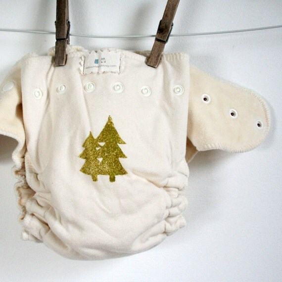 eco diaper - all organic - woodland forest - fitted diaper - one size - snaps - hand stamped - soft - neutral
