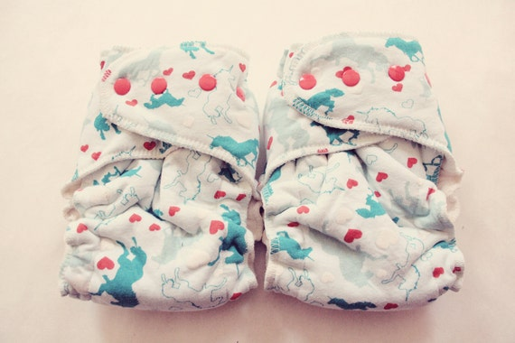 One Size Fits Most Cloth Diaper, unicorns in love, fitted cloth diaper - seconds - rebourne diaper