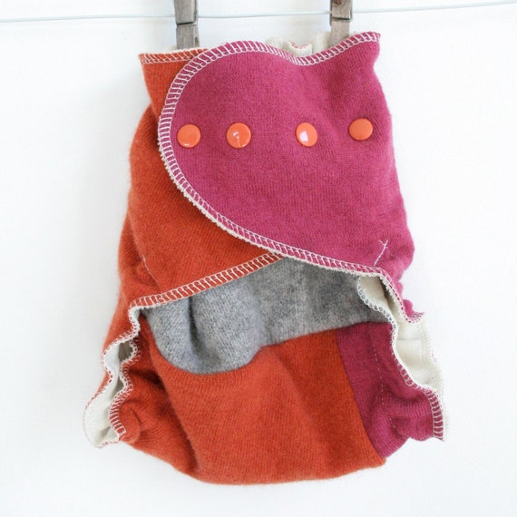 diaper cover - wool - colorblock in pink, orange and grey - one size - wool wrap cloth diaper cover - nifty nappy