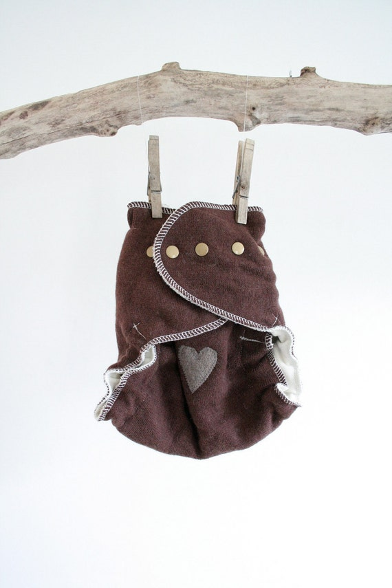 neutral hearts - brown wool cloth diaper cover - ONE SIZE fits all - upcycled and new merino wool - brown and grey