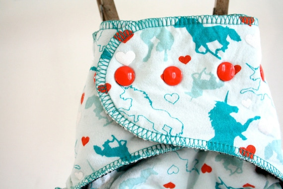 One Size Fits Most Cloth Diaper, unicorns in love, fitted cloth diaper - unicorn hearts teal and red