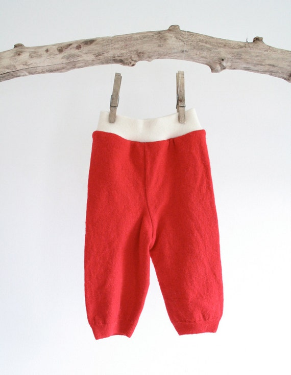 bright red wool longies - small - merino wool - thin and soft