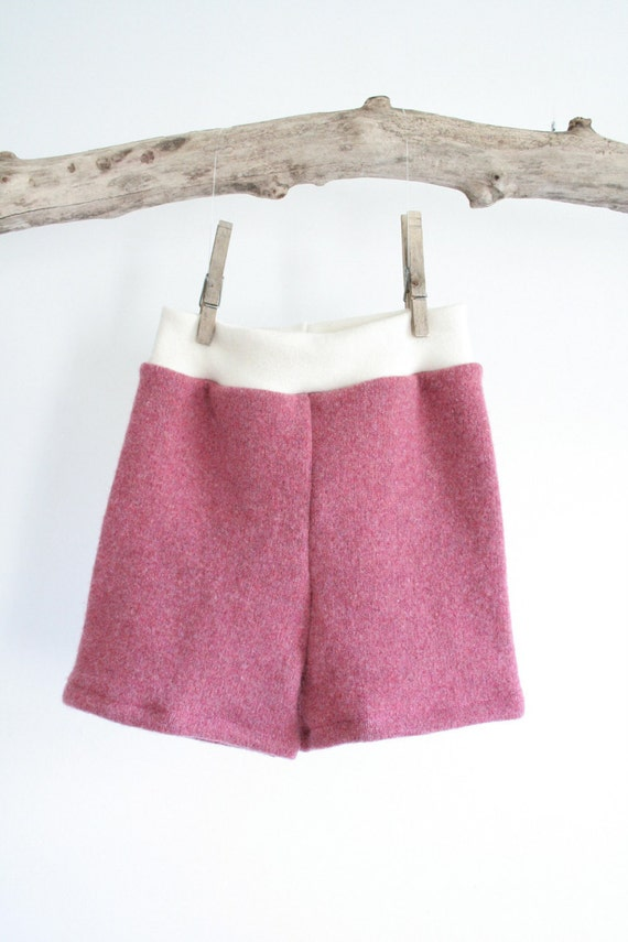 shorties // large pink wool shorts - wool shorties - upcycled and new wool - cloth diaper cover