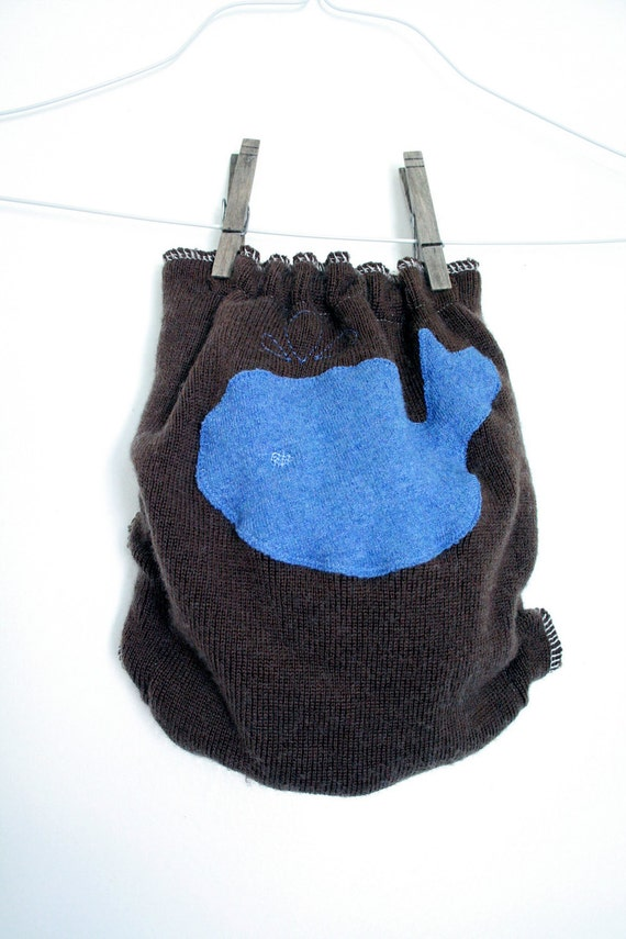 one size wool diaper cover - wool wrap cover - happy whale - brown and blue - nifty nappy