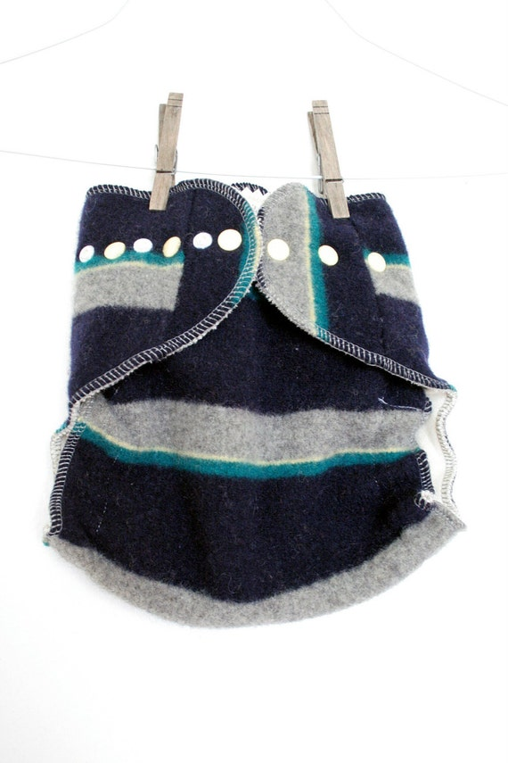 stripes wool wrap diaper cover - OS cover - 7-35 pounds - two layers - overnight - snaps - navy blue yellow green grey