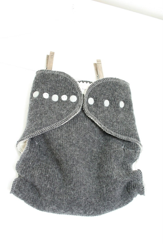 Dark grey and light grey wool wrap - one size wool cloth diaper cover - nifty nappy woolie wrap