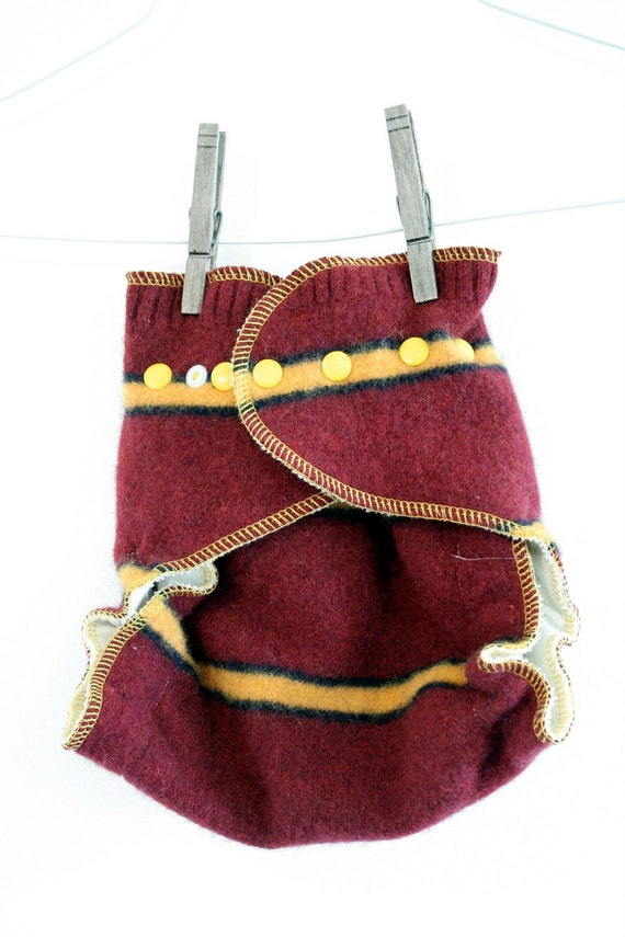 wool cover wrap - maroon, yellow and black stripes - two full layers of wool - snap - one size fits all